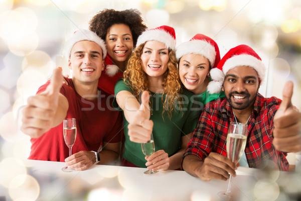 Feliz amigos Navidad fiesta Foto stock © dolgachov