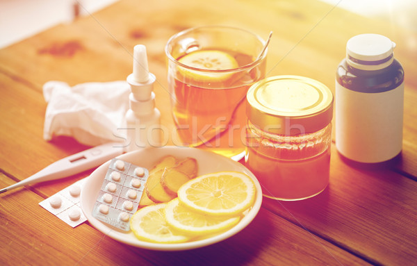 Drogok hőmérő méz csésze tea fa Stock fotó © dolgachov