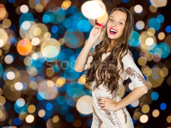 Gelukkig vrouw partij blazer feestelijk lichten Stockfoto © dolgachov
