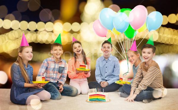 счастливым детей вечеринка именинный торт детство Сток-фото © dolgachov