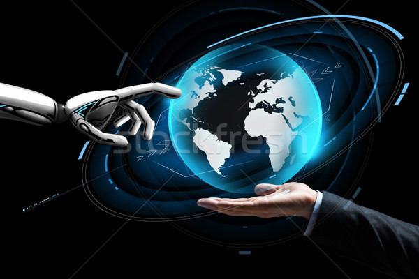 Emberi robot kéz virtuális Föld hologram Stock fotó © dolgachov