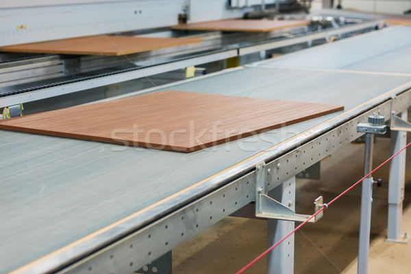 wooden boards on conveyer at furniture factory Stock photo © dolgachov