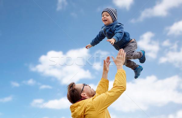 Syn ojca gry odkryty rodziny dzieciństwo Zdjęcia stock © dolgachov