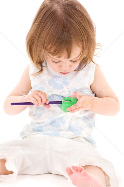 Stok fotoğraf: Küçük · kız · resim · beyaz · çocuk · renk