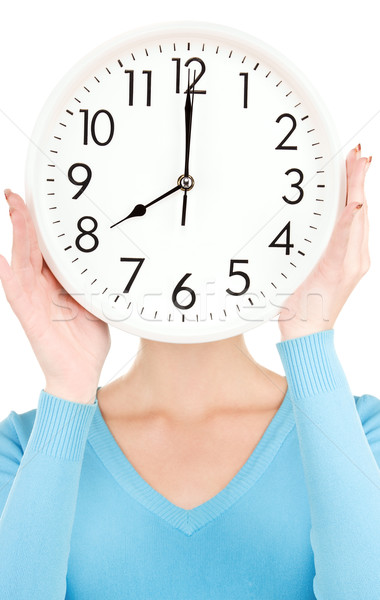 woman with big clock covering face Stock photo © dolgachov