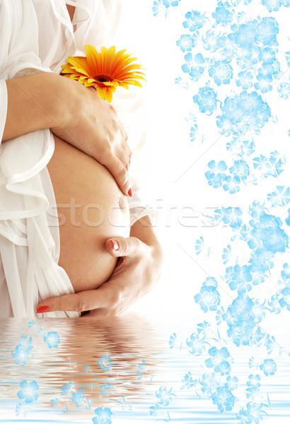 Attesa blu acqua fiori donna incinta pancia Foto d'archivio © dolgachov