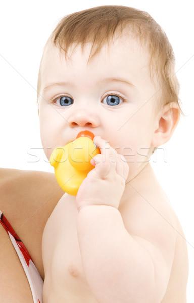Сток-фото: ребенка · утки · фотография · мальчика · резиновые · счастливым