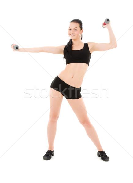 фитнес инструктор гантели белый женщину тело Сток-фото © dolgachov