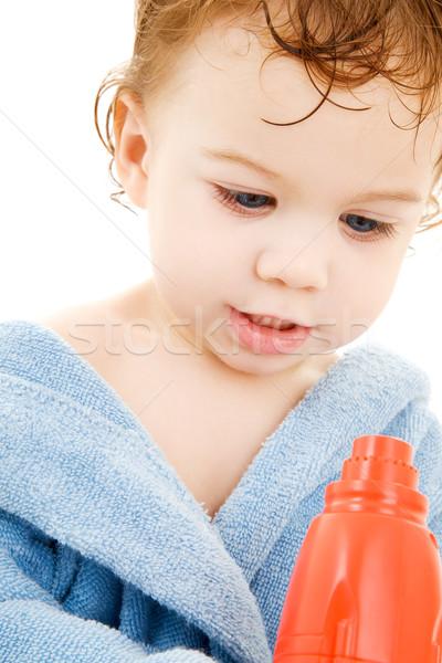 baby boy with toy hair dryer Stock photo © dolgachov