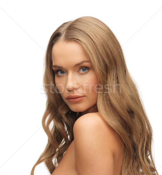 красивая женщина длинные волосы ярко фотография женщину лице Сток-фото © dolgachov