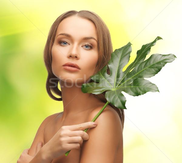 woman with green leaf Stock photo © dolgachov