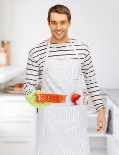 cooking man at kitchen Stock photo © dolgachov