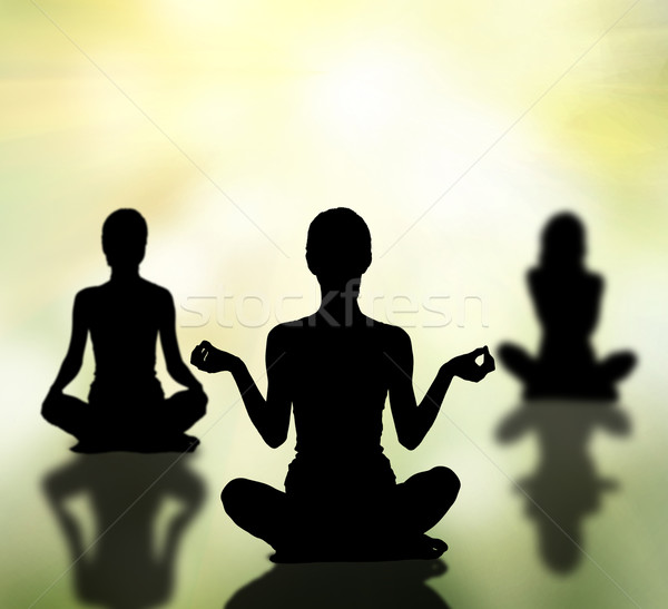 silhouettes of women practicing yoga lotus pose Stock photo © dolgachov