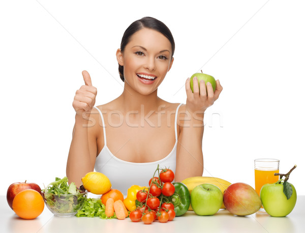 Kobieta zdrowa żywność piękna kobieta owoce Zdjęcia stock © dolgachov