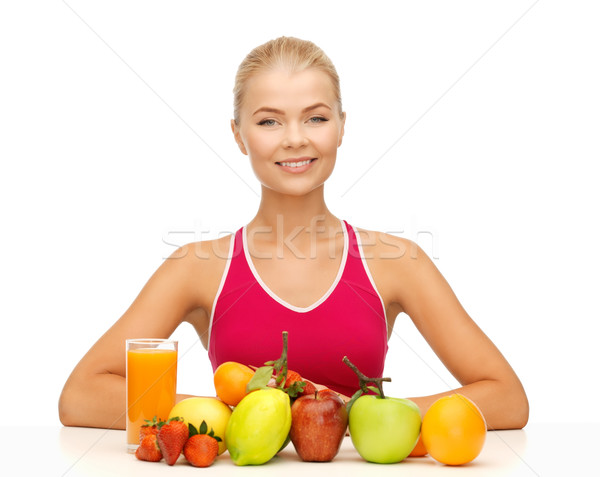 Mujer alimentos orgánicos frutas Foto alimentos Foto stock © dolgachov