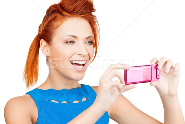Donna cellulare foto donna sorridente foto Foto d'archivio © dolgachov