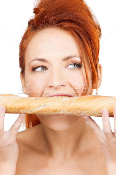 woman with long french baguette Stock photo © dolgachov