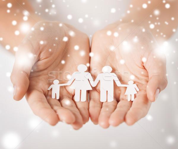 женщину рук бумаги человека семьи детей Сток-фото © dolgachov