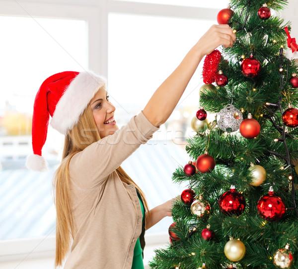 女性 サンタクロース ヘルパー ツリー クリスマス ストックフォト © dolgachov
