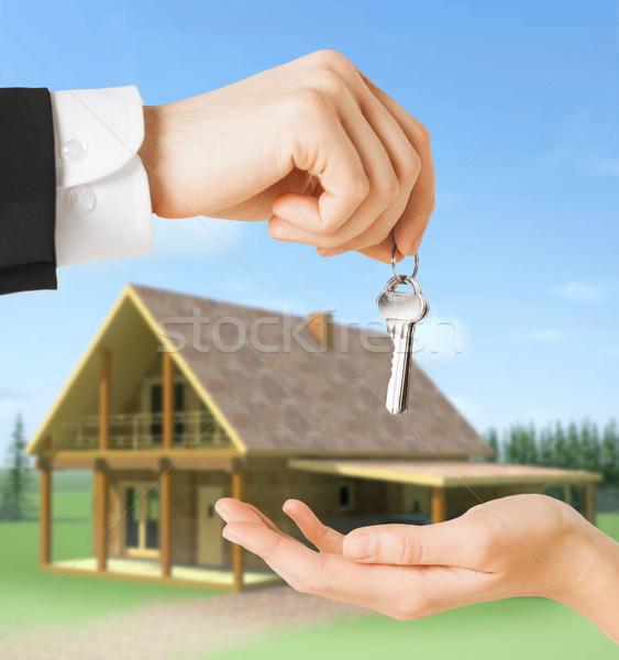 Stockfoto: Man · vrouw · huis · sleutels · onroerend