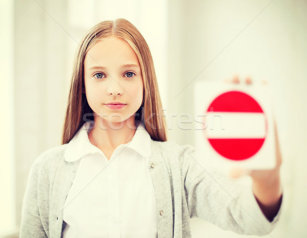Stock photo: girl showing no entry sign