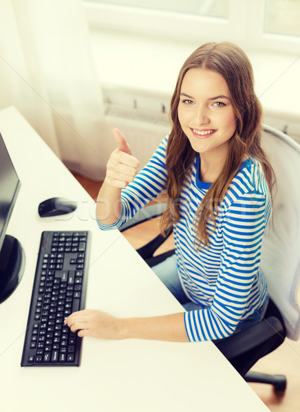 dreaming teenage girl with computer at home Stock photo © dolgachov