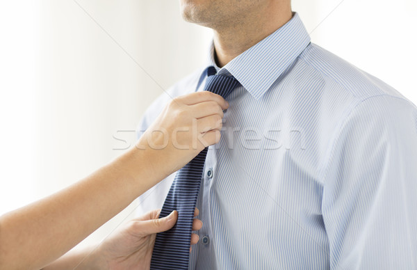 女性 手 ネクタイ 首 人 ストックフォト © dolgachov