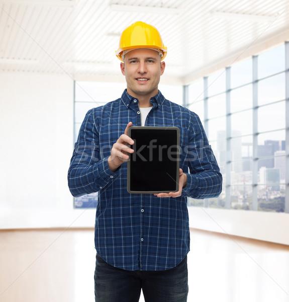 Stock fotó: Mosolyog · férfi · építész · sisak · táblagép · javítás