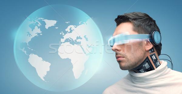 Foto stock: Homem · futurista · óculos · pessoas · tecnologia · futuro