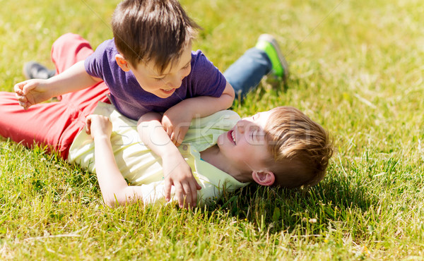 happy little boys fighting for fun on grass Stock photo © dolgachov
