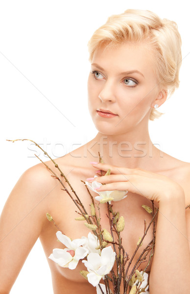 lovely woman with twig Stock photo © dolgachov