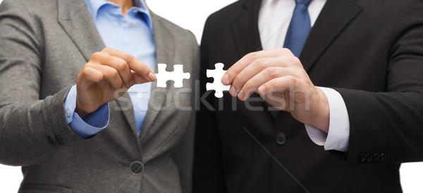 Zdjęcia stock: Biznesmen · kobieta · interesu · puzzle · działalności · móc · biuro