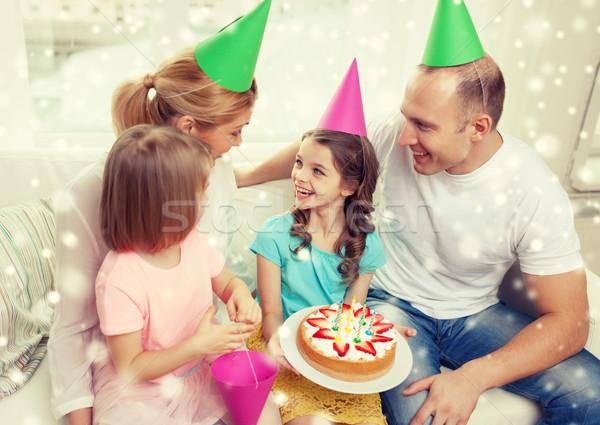 Stok fotoğraf: Mutlu · aile · iki · çocuklar · parti · ev