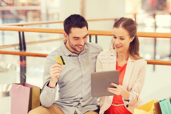 Paar creditcard mall verkoop Stockfoto © dolgachov