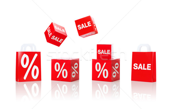 boxes and shopping bags with sale and percent sign Stock photo © dolgachov