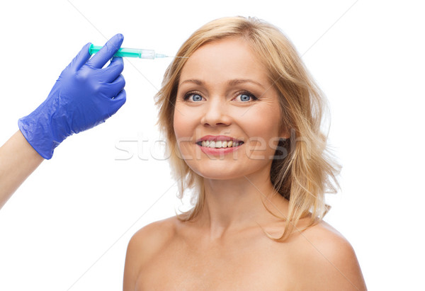 happy woman face and beautician hand with syringe Stock photo © dolgachov