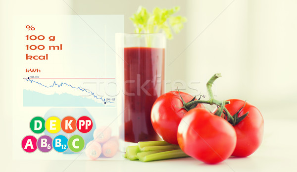 close up of fresh juice and vegetables on table Stock photo © dolgachov