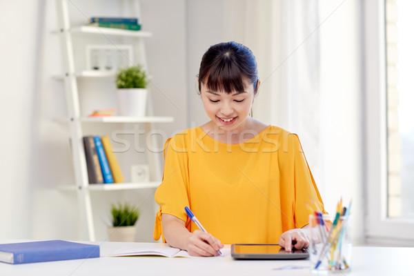 Asian vrouw student home mensen Stockfoto © dolgachov