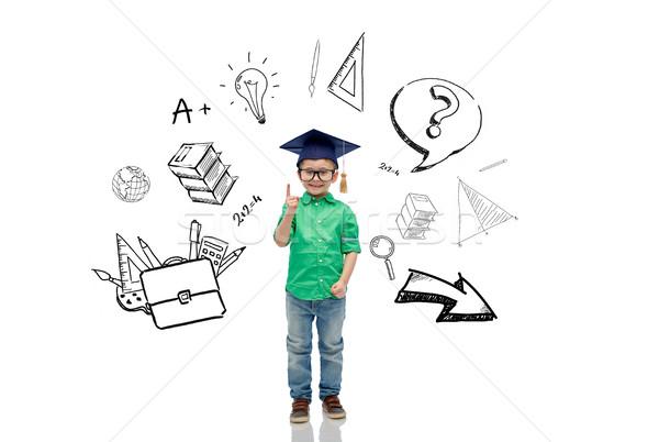 бакалавр Hat очки детство школы Сток-фото © dolgachov