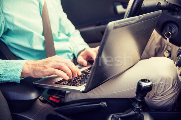 ストックフォト: 若い男 · ノートパソコン · 運転 · 車 · 輸送