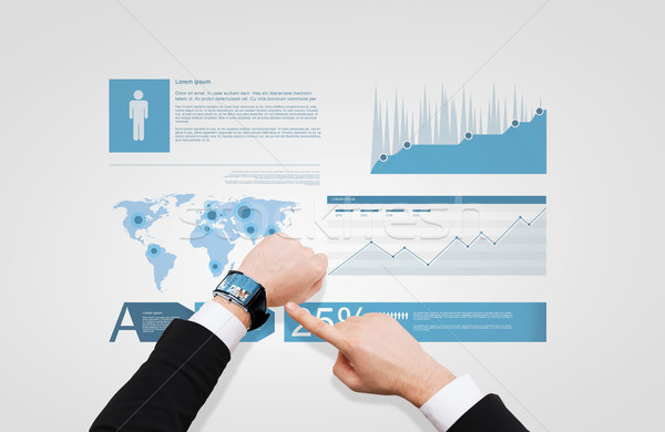 businessman pointing to smart watch at his hand Stock photo © dolgachov