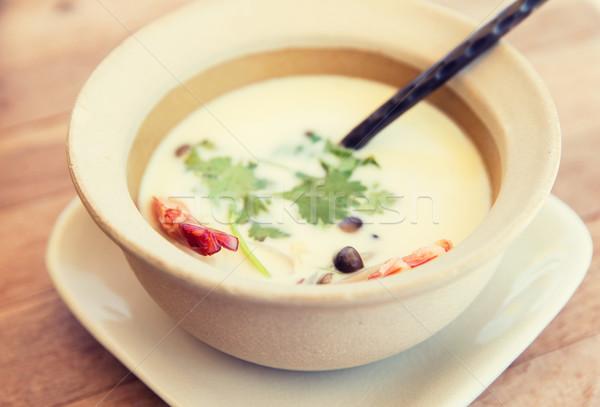 çanak kremsi çorba tablo pişirme Asya Stok fotoğraf © dolgachov