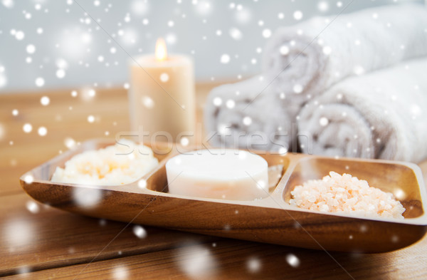 soap, himalayan salt and body scrub in bowl Stock photo © dolgachov