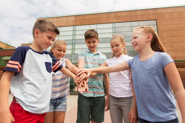 Foto stock: Grupo · feliz · escuela · primaria · estudiantes · primario · educación
