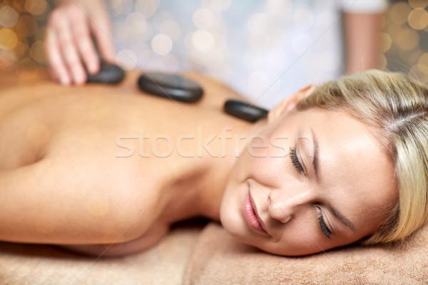 Foto d'archivio: Donna · caldo · pietra · massaggio · spa