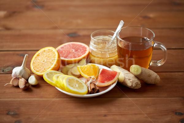 имбирь чай меда цитрусовые чеснока древесины Сток-фото © dolgachov