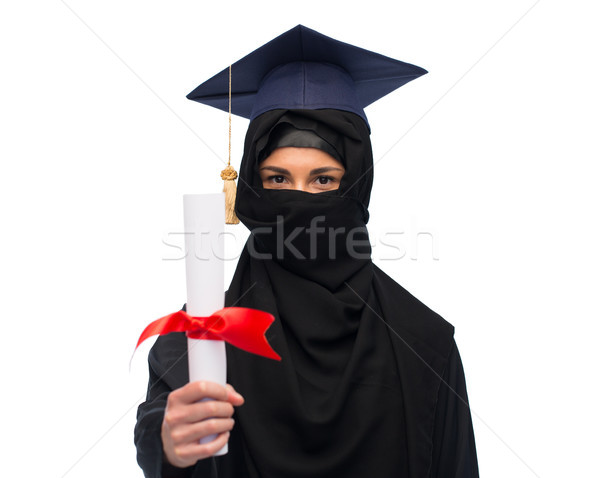 Moslim vrouw hijab diploma onderwijs afstuderen Stockfoto © dolgachov