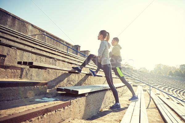 Coppia gamba stadio fitness sport Foto d'archivio © dolgachov