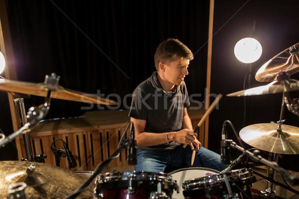 Stockfoto: Mannelijke · muzikant · spelen · drums · concert · muziek