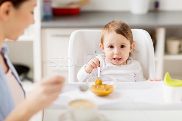 Stok fotoğraf: Mutlu · anne · bebek · kahvaltı · ev · aile